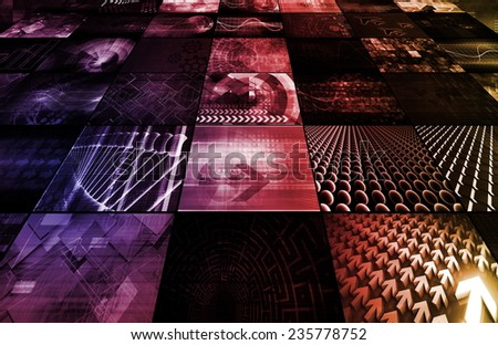 TV Screen Wall with Latest News and Channels - stock photo