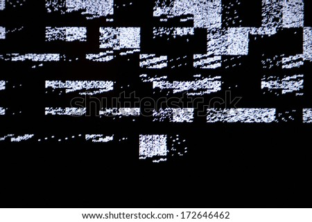 Tv screen with static noise by bad signal reception - stock photo
