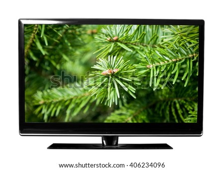 tv screen with the pine picture - stock photo