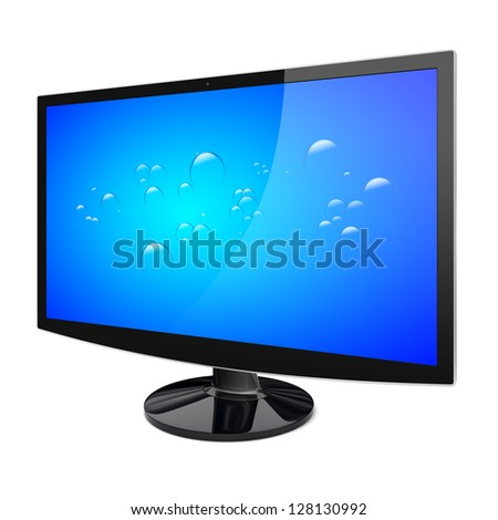 TV set with a blue background on a screen. Isolated on a white. 3d image