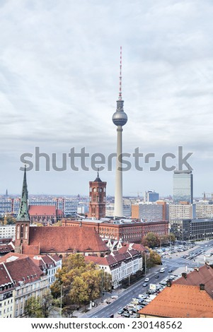 TV-tower and Rotes Rathaus (Red City Hall) in Berlin, Germany - stock photo