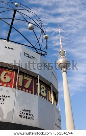 TV Tower and world time clock in Berlin, Germany - stock photo