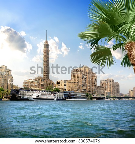 TV tower near Nile in Cairo at sunlight - stock photo