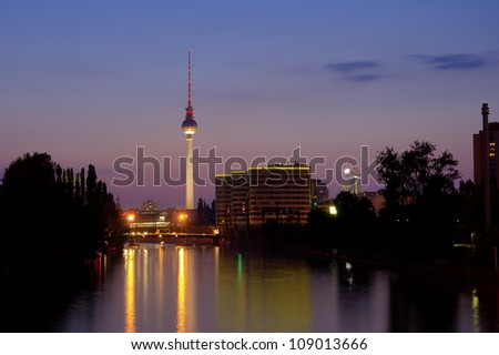 TV Tower of Berlin and the River Spree at evening after sunset, Germany, Europe