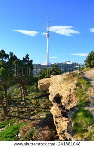 TV tower  view from the Highland park, Baku, Azerbaijan - stock photo