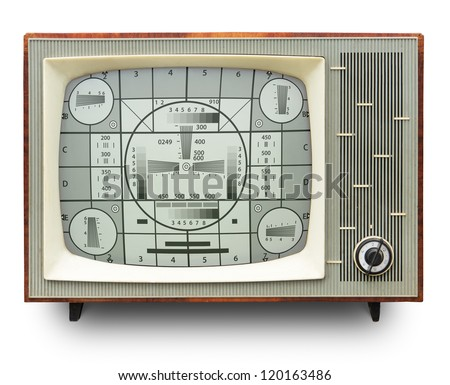 TV transmission test card on vintage b/w tv set isolated on white. Clipping path included/ - stock photo