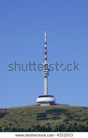 TV transmitter with restaurant and outlook-tower on a mountain top by name Praded (Great-grandfather) at mountains Jesenik at Czech republic at Europe - stock photo