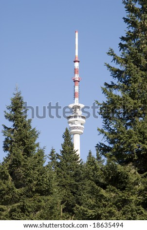 TV transmitter with restaurant - Praded ( at mountains Jesenik at Czech republic at Europe - stock photo
