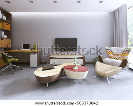 Great TV Unit In A Contemporary Living Room With Work Space And A Large Lounge  Chair.