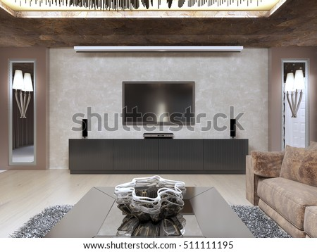 TV Unit Luxury Living Room Designed Stock Illustration 511111195 ...