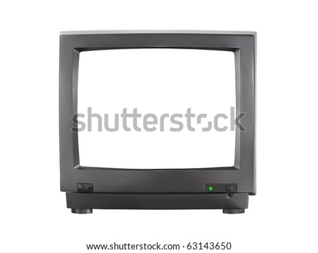 TV with blank screen isolated on white background - stock photo