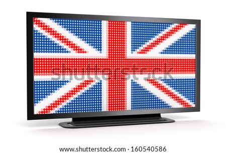 TV with British Flag (clipping path included) - stock photo