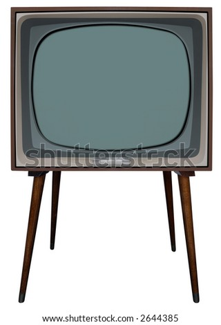 TV with clipping path inside and outside - stock photo