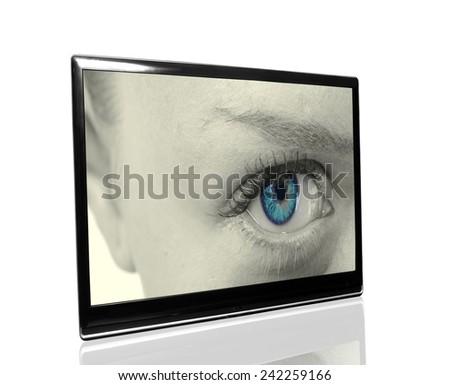 tv with eye - stock photo