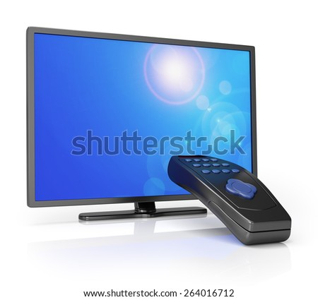 TV with remote control isolated on white. 3d render - stock photo