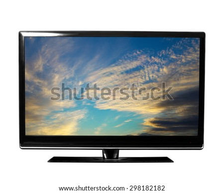 tv with the sky view - stock photo