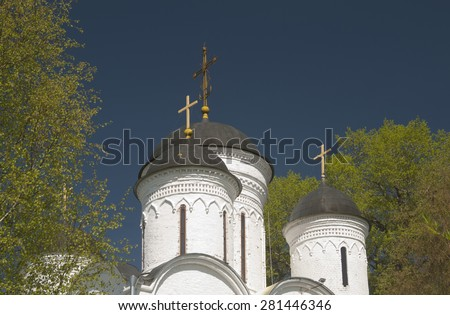 TVER OBLAST, RUSSIA, MAY 10, 2015 The Archangel Michael church in Mikulino village, the end of XIV century. Russia, Moscow region.