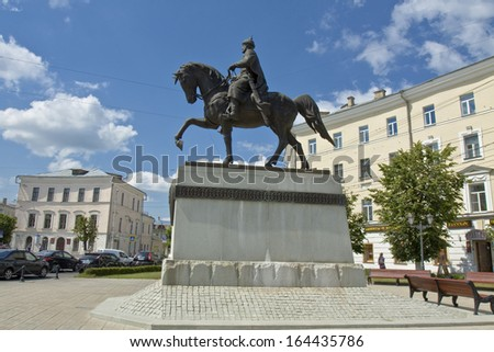 TVER, RUSSIA - JUNE 24: Monument to prince Michael Tverskoy on Soviet square on June 24, 2013 in Tver, Russia, has been erected in 2008.