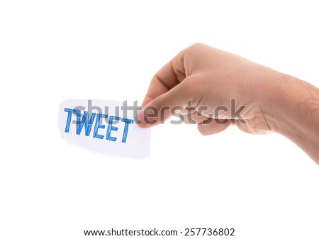 Tweet piece of paper isolated on white background - stock photo