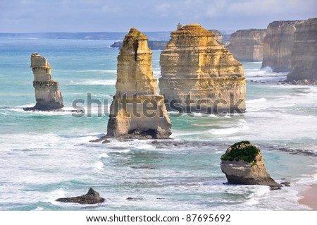 Twelve Apostles along Great Ocean Road, Victoria - stock photo