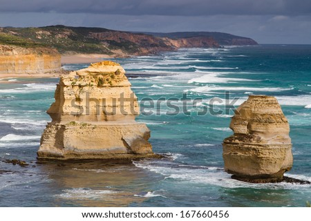 Twelve Apostles, famous landmark along the Great Ocean Road, Victoria, Australia - stock photo