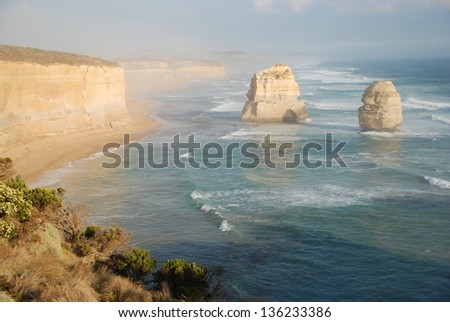 Twelve Apostles in Victoria, Australia. Two of the famous rock stacks. - stock photo