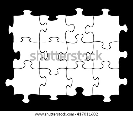 Twelve blank jigsaw pieces on black background