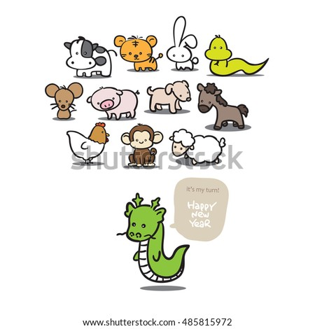 Twelve Cartoon Chinese/Japanese Zodiac for new year card background