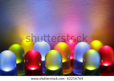 Twelve colorful LED lights in red, yellow, green and blue.