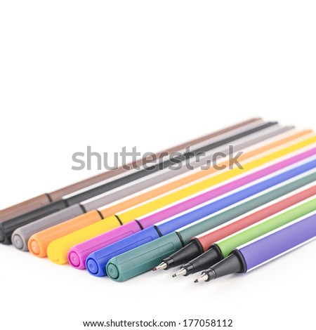 twelve colorful pen isolated on white background - stock photo