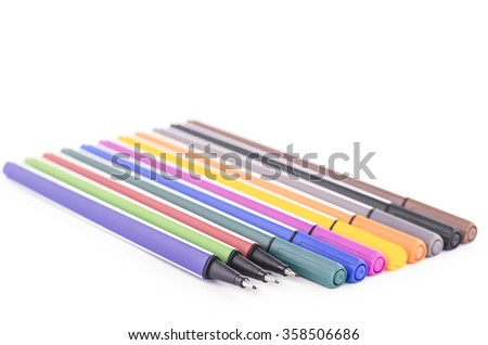 twelve colorful pen isolated on white background