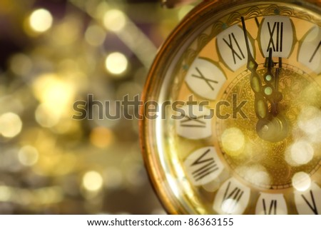 Twelve O'clock midnight in retro style - stock photo