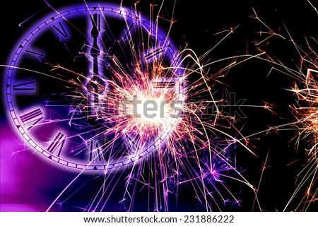 twelve o clock midnight with sparkles fireworks on black background - stock photo