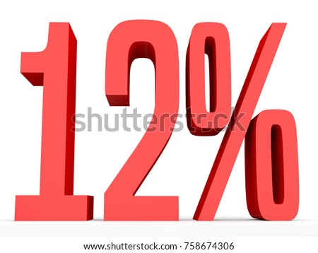 Twelve percent off. Discount 12 %. 3D illustration on white background.