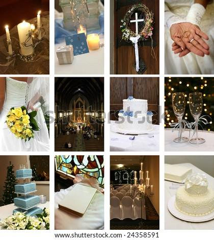 twelve small wedding themed images - stock photo