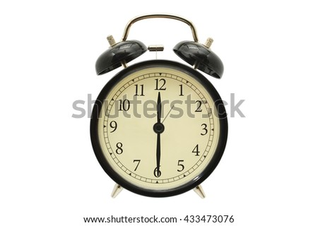 Twelve Thirty Black Alarm Clock isolated on white background