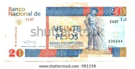 twenty cuban pesos convertibles reverse - stock photo