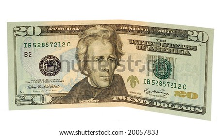 Twenty dollar bill on a white background