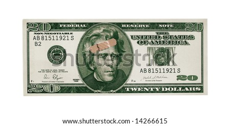 Twenty Dollar Bill With Band Aid - stock photo