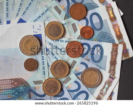 Twenty Euro banknotes and coins currency of Europe