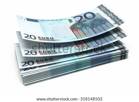 Twenty Euro banknotes close-up (isolated on white and clipping path)