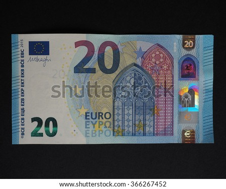 Twenty Euro banknotes currency of the European Union - new design (2015)