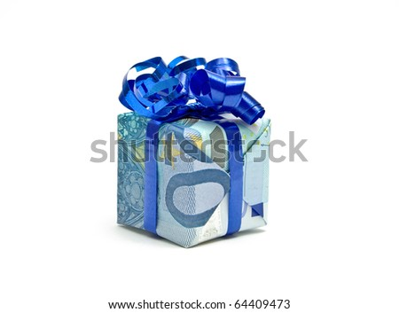 Twenty euro bill packed as a gift - stock photo