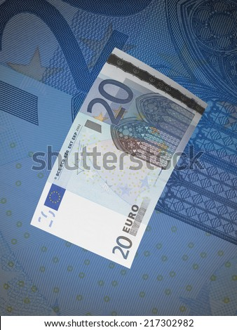Twenty euro bills collage with blue tone. Vertical format - stock photo