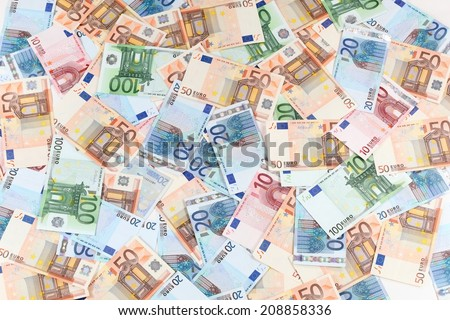 Twenty, fifty and one hundred Euro banknotes background - stock photo