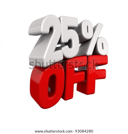 twenty-five Percent Automatic Reduction. 3d text for 25% OFF in red and white angled obliquely away from camera isolated on white - stock photo