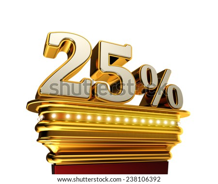 Twenty five percent figure on a golden platform with brilliant lights over white background - stock photo
