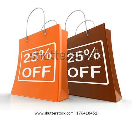 Twenty-Five Percent Off On Shopping Bags  - stock photo