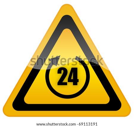 Twenty four hour sign - stock photo