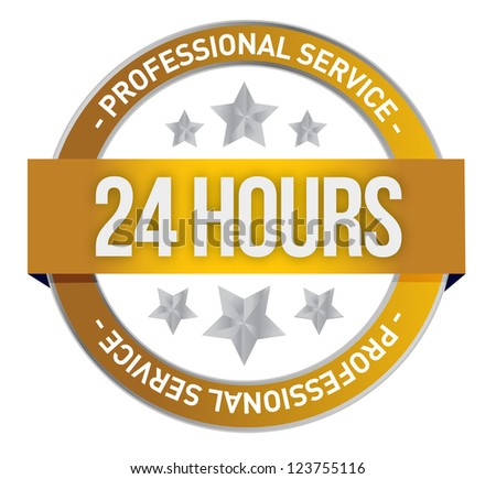 Twenty four hour support illustration design over a white background - stock photo